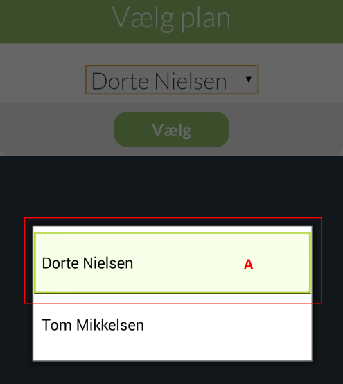 Screenshot 25: Siden 'Vælg plan' i modulet Skift plan Drop-down-listen viser de afviklere man kan vælge i mellem. På billedet er afvikler Dorte Nielsen valgt.