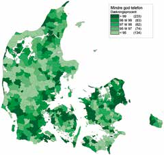 Tabel 1: Dækningsprocenten for bredbåndhastigheder i Danmark i perioden 2010-2013 2010 2011 2012 2013 Download 100 Mbit/s download 23 36 60 70 50 Mbit/s download 62 67 70 72 30 Mbit/s download 71 77