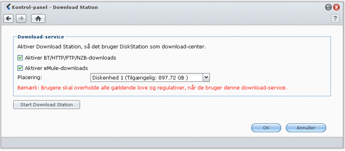 nederst i Download Station.