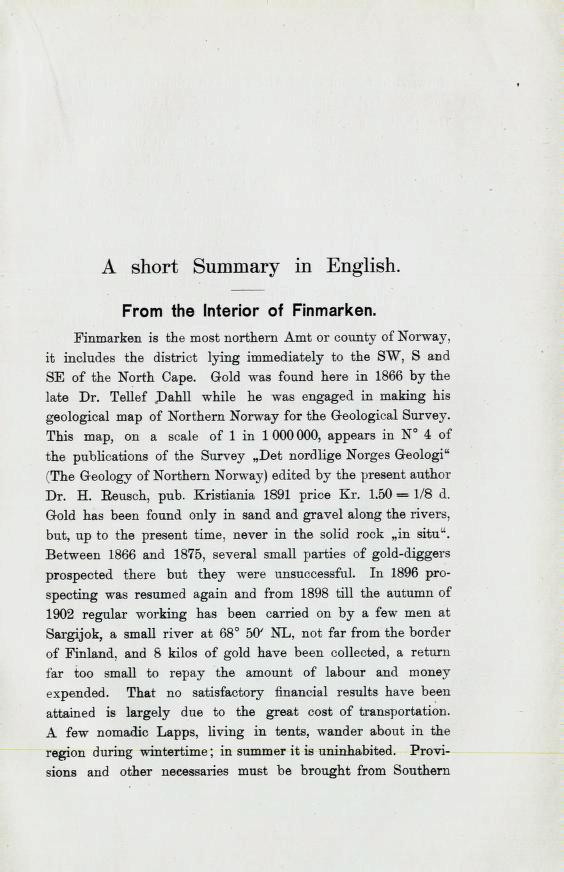 A skort Summary in English. From the Interior of Finmarken. Finmarken is the most northern Amt or county of Norway, it inoln66b the 6ißtriot I^in^ immediately to the B^V, S and SE of the North Cape.