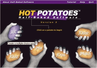 Program- og aktivitetstyper Indholdsside i programmet Hot Potatoes.