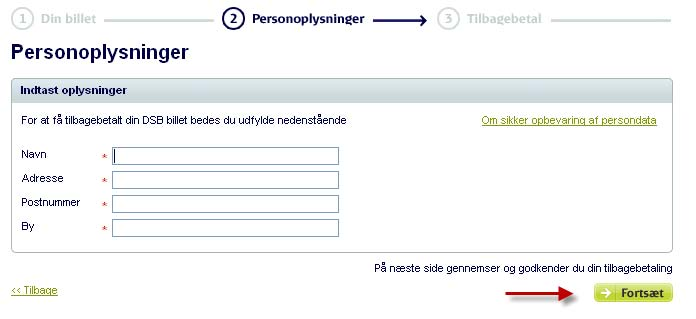 Then you have to accept the terms of refund, generally, you hereby promise not to use the ticket. then click 'Fortsæt'.