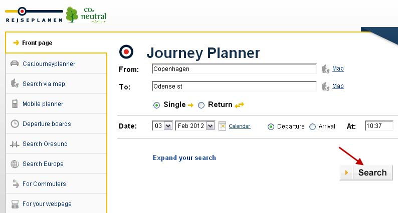 The Journey planner will now show in a new window.