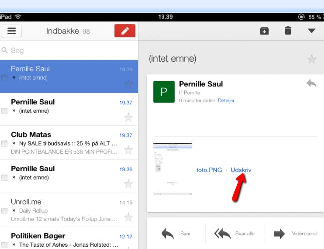 Gmail kan hentes her: https://itunes.apple.com/dk/app/gmail-e-mail-viagoogle/id422689480?