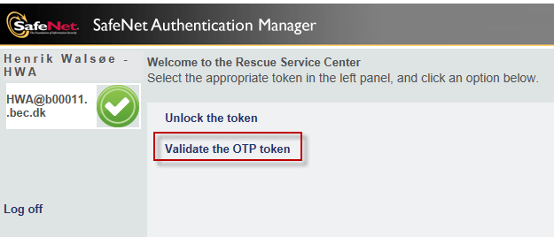 Rescue Service Center Validate the OTP token Ref.