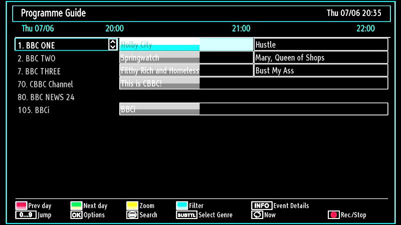 EPG Channel Schedule / / / : Navigate Red button (Prev Time Slice): Displays the programmes of previous time slice. Green button (Next Time Slice): Displays the programmes of the next time slice.