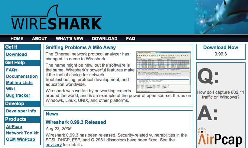 Wireshark - grafisk pakkesniffer http://www.wireshark.