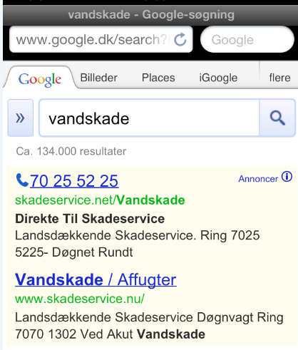 GOOGLE ADWORDS 67 ordet vandskade.