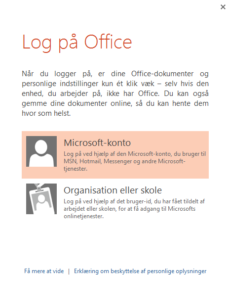 Logge på Office Log på Microsoft Office for at komme i gang med at gemme, dele og lagre filer i skyen.