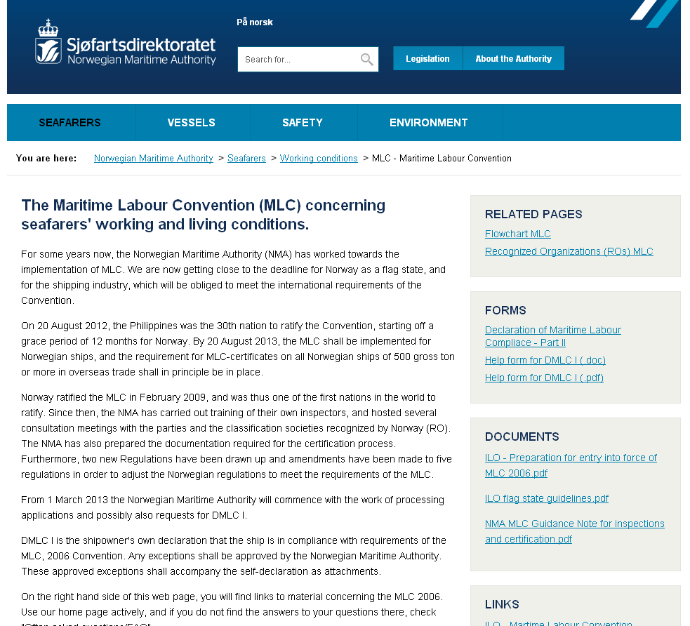 Status for MLC, 2006 for de Nordiske lande Status for DMLC Part I
