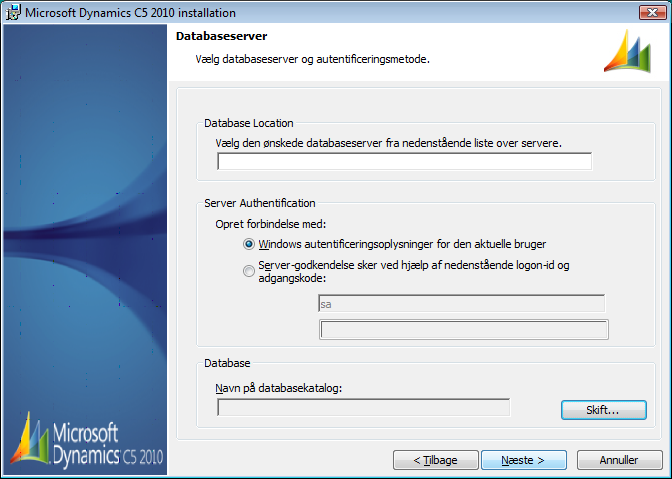 Figur 18 I denne dialog skal man under Database Location angive [server]\[instans].