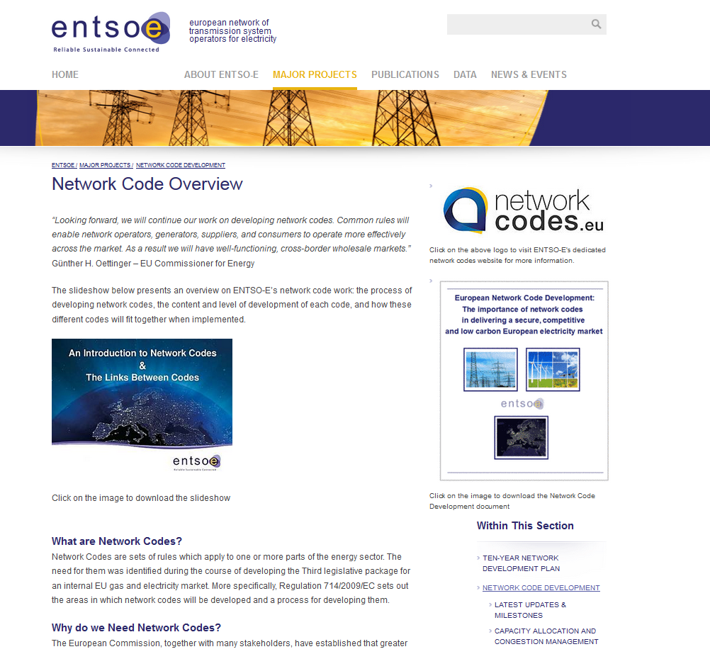 Sources of information Corporate ENTSO-E Website