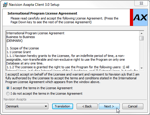 Marker I accept the terms in the License Agreement og vælg Next : I dette