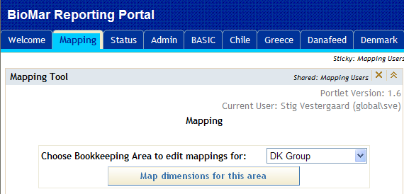 Mapping BioMar Reporting System mapping application Selecting