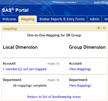 Mapping BioMar Reporting System mapping application Overview of mapping If there are accounts which are not linked.