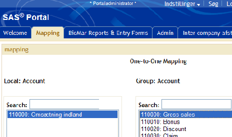 Mapping BioMar Reporting System mapping application Screen for linking accounts/departments (2 of 3) Select one group account on the right side. Select one local account on the left side.