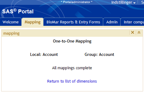 Mapping BioMar Reporting System mapping application Screen for linking accounts/departments (3 of 3)