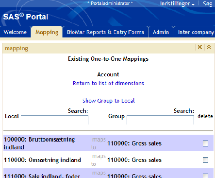 BioMar Reporting System mapping application Screen for showing mapping of accounts/departments (2 of 2) Delete