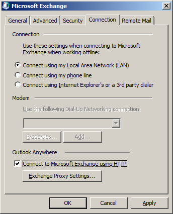 Select the Connection tab Mark the Connect to Microsoft Exchange using