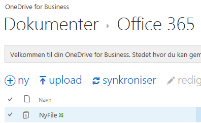 Upload filer til Office 365 OneDrive 1. Klik ind i den mappe på OneDrive som fil/filer skal uploades til 2. Åben stifiner eller finder 3. Marker fil/filer i stifiner/finder 4.