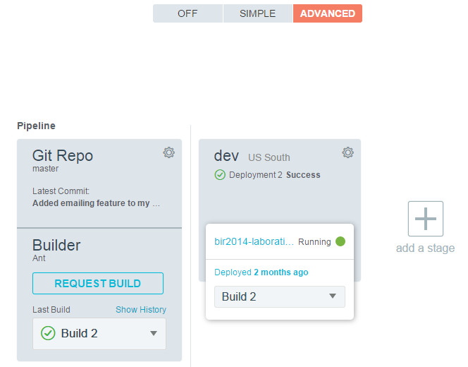 Deployment to Bluemix Advanced deployment Support for building code before deployment, to run unit tests and more