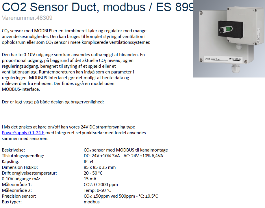 Teknisk dokumentation - CO2 sensor, Duct