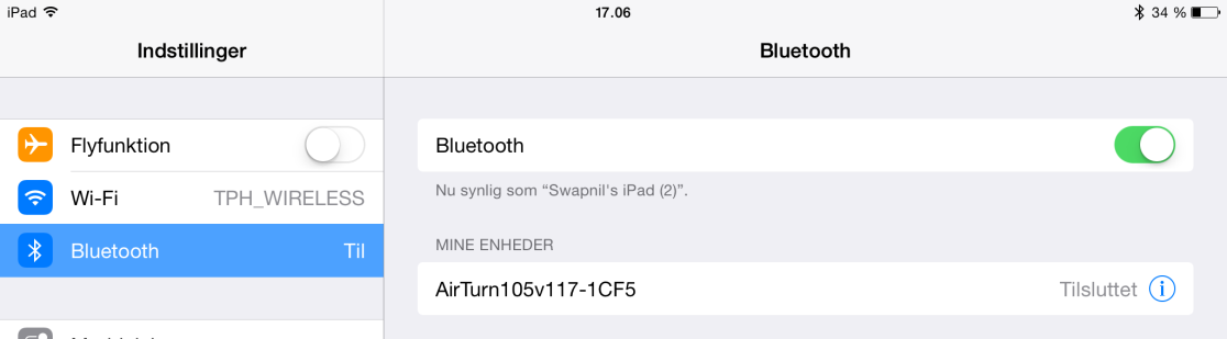 At parre din Bluetooth Switch Box med din ipad/ipod/iphone 1. Gå til indstillinger på din ipad/iphone/ipad Touch 2.