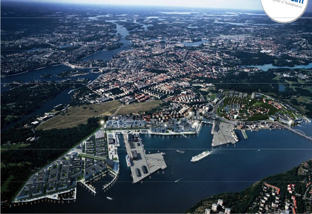artikel Figure 1. An artistic illustration of the Stockholm Royal Seaport upon completion in 2030. About 12,000 new homes and 35,000 new work spaces will be available.