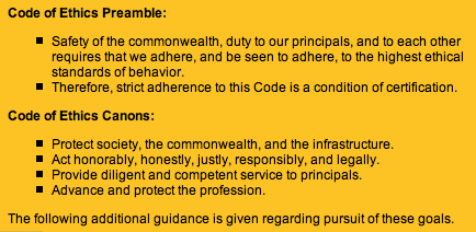 ISC2 code of ethics https://www.isc2.org/ethics/default.