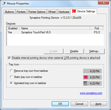 2. Klik på Device Settings (Enhedsindstillinger) øverst og klik så på Disable internal pointing device when external USB pointing device is attached (Deaktiver