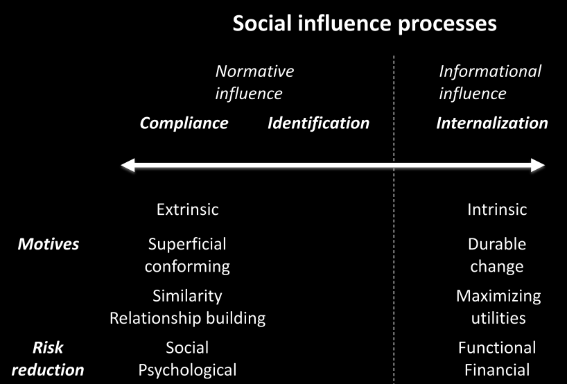Theoretical Framework The only subcomponent of informational influence is the process of internalization, which was defined by Kelman (1958) as when an individual accepts influence because the