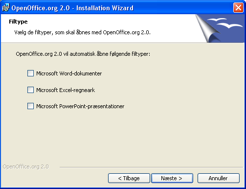 Windows 98/ME/NT/2000/XP Installation Installationstypen Komplet anbefales.