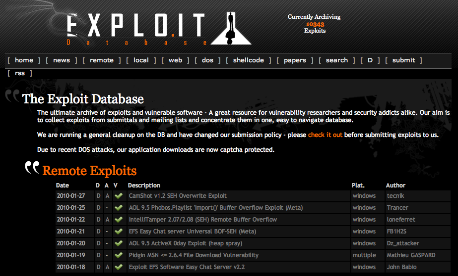 The Exploit Database - dagens buffer overflow http://www.