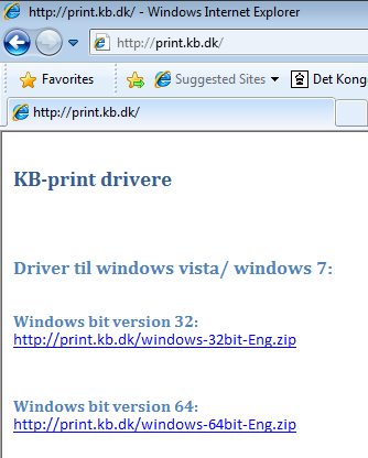 DET KONGELIGE Hent drivers til Windows Windows 7. Driveren kan hentes på: http://print.kb.dk Figur 3. KB-print Eller direkte på Figur 3. KB-print 1. 32bit version: http://print.kb.dk/windows-32bit-eng.