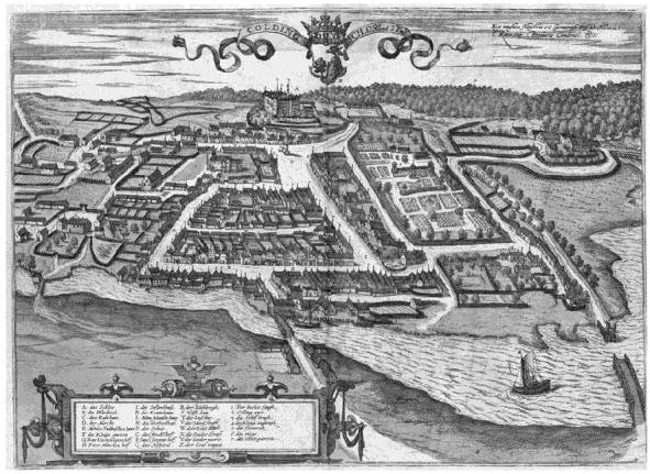 helt frem til det 20. århundrede (fig. 2). Fig. 3.Prospekt af Kolding i 5. bind af Civitates Orbis Terrarum, 1598 (Historic Cities Research Project, University of Jerusalem).