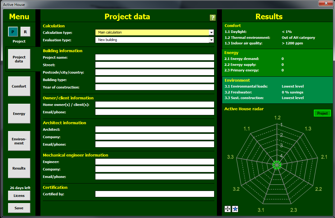 Interface - Project data (Project calculation) 6.