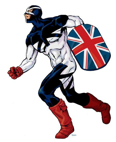 Captain Britain Eat Union Jack, Jack Concept: Engelsk superhelt Occupation: Politimand Str 16 Dex 13 Con Int Wis App 17 17 13 14 Siz Sie 16 e us Dmg Bonus bonbobonus Armor Hitpoints +1D6 4 17