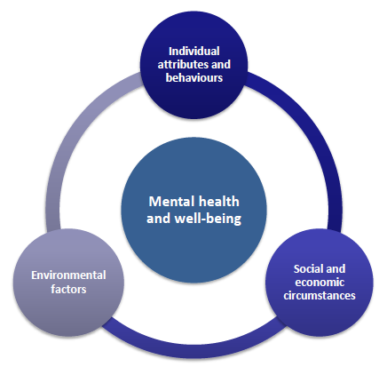 So mental well-being can be put at risk by a wide range of factors that span not only the life course but also different spheres of life: cognition and behavior at the individual level; living and