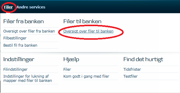 Gå til Mappeoversigt for at sende betalinger til Danske Bank via Business Online.