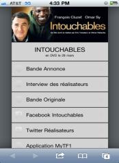 Intouchables Film France (Print) Code linked users to a ScanLife Custom Menu Code