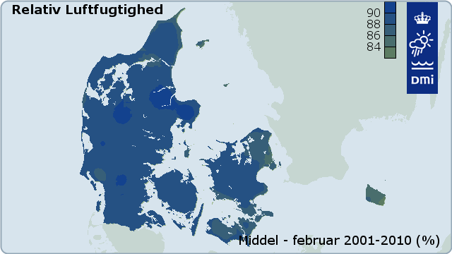 Figur 18: Middel relativ luftfugtighed for januar baseret på data for 2001-2010 (%)