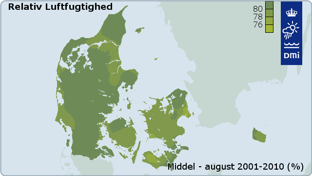 Figur 24: Middel relativ luftfugtighed for juli baseret på data for 2001-2010 (%)