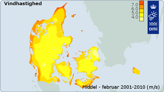 Figur 30: Middelvindhastighed for januar baseret på data for 2001-2010 (m/s)
