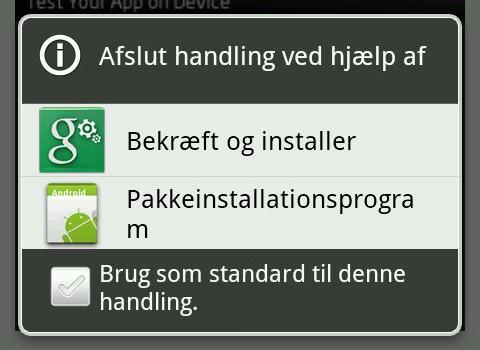 Installation på Android - 2 Når App en er downloadet skal man