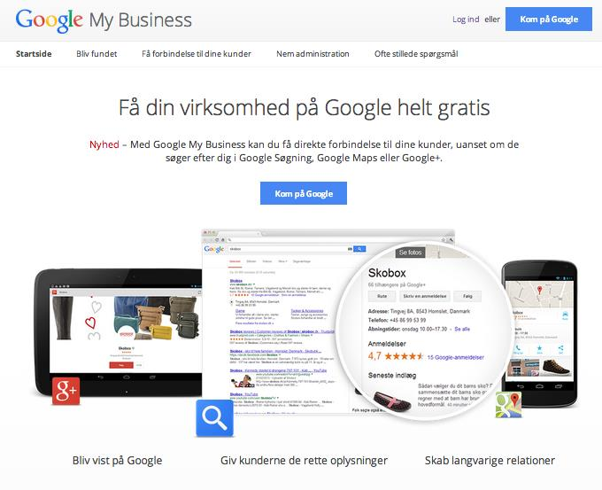 Opret en Google My Business profil: 1. Log in med din adm. Google konto 2.