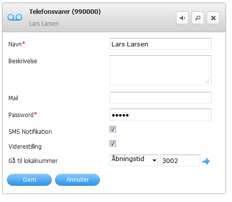 Mail Password SMS Notifikation Viderestilling Gå til lokalnummer Her kan du se beskrivelse af telefonsvareren. (Eks.