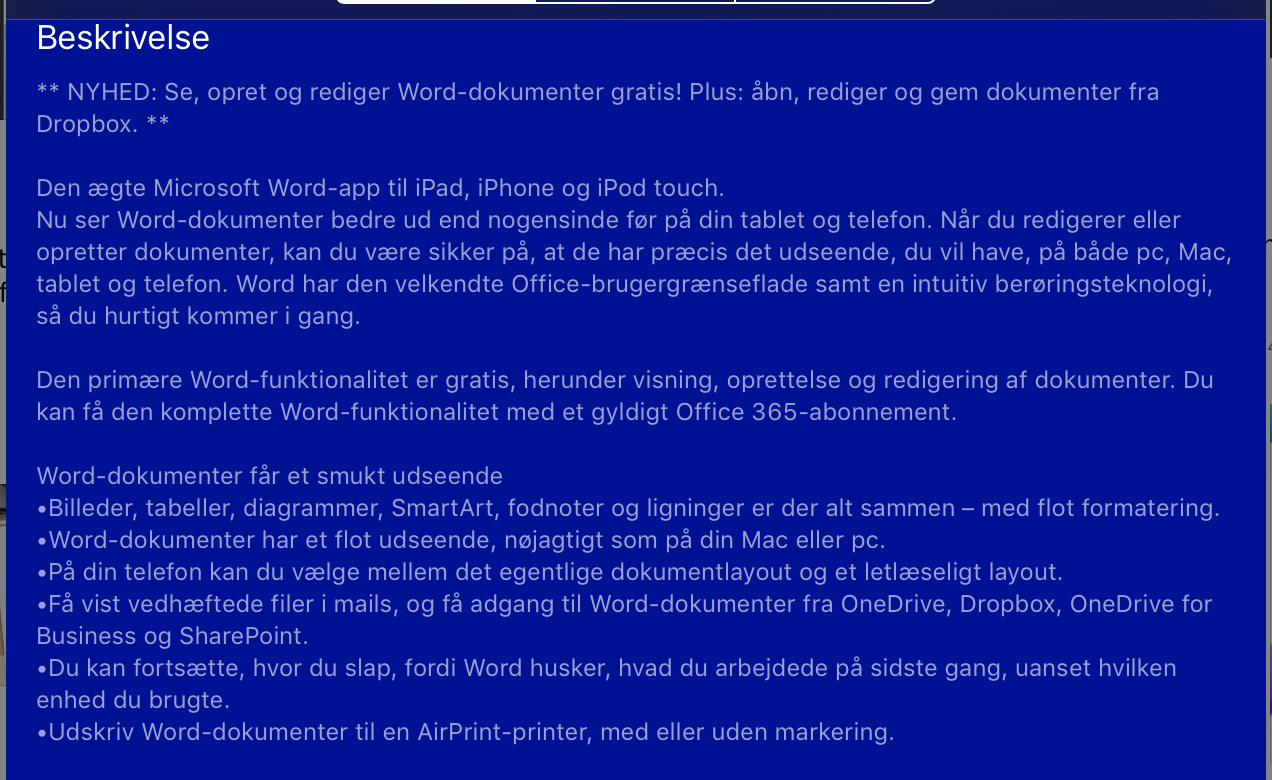 3 Pages (Apple Skriveprogram) 4 Word (Microsoft