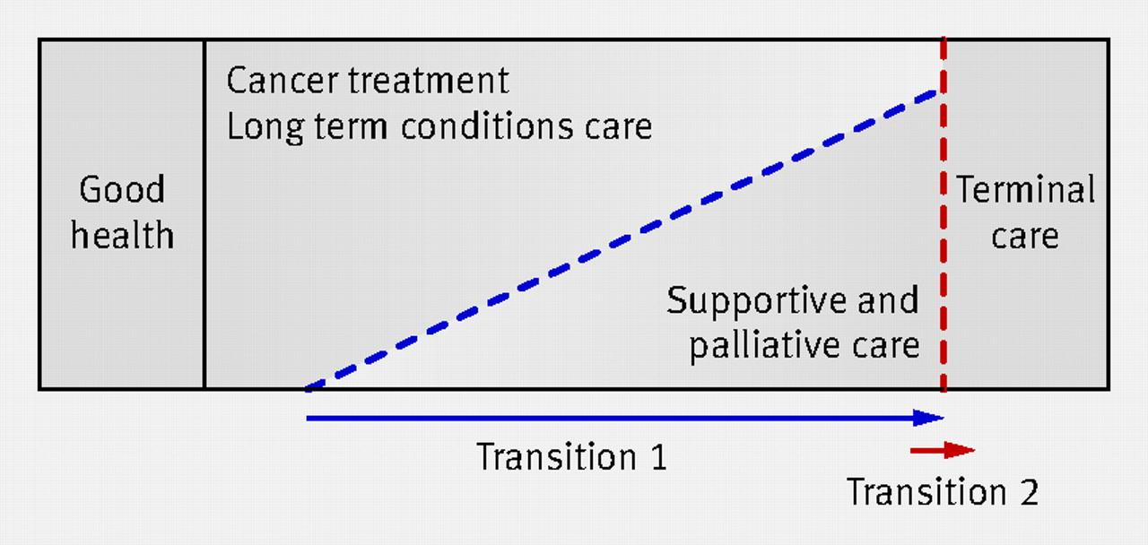 Kurativ og palliativ indsats Key phases in end of life care.