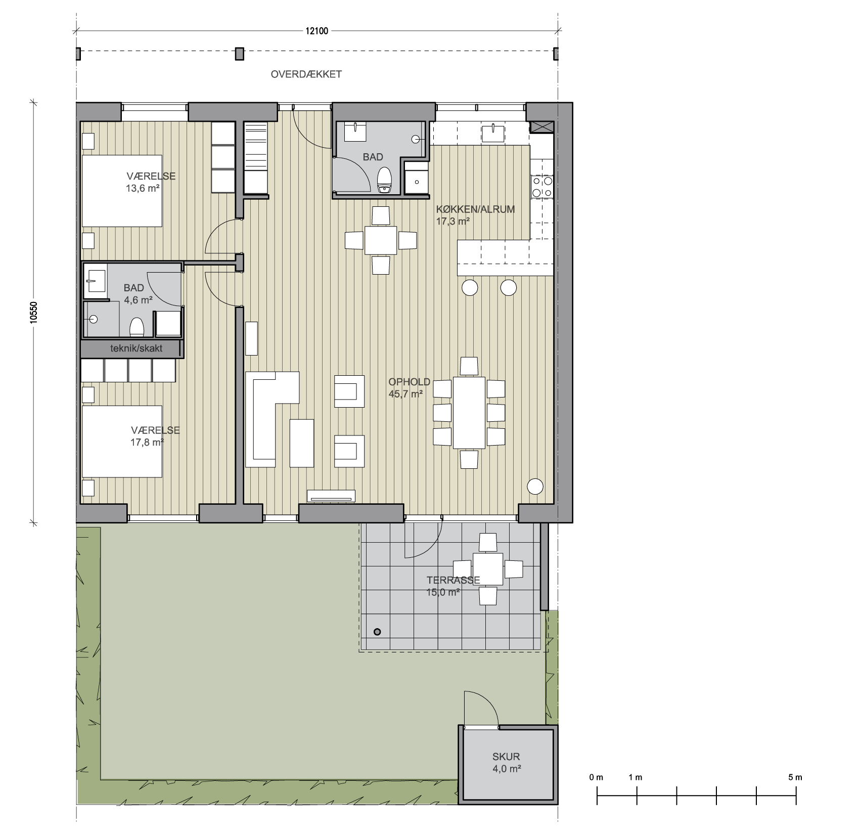 TYPE D - STUEPLAN 3-RUMS BOLIG BOLIG: 131,5 m² TERRASSE: 15
