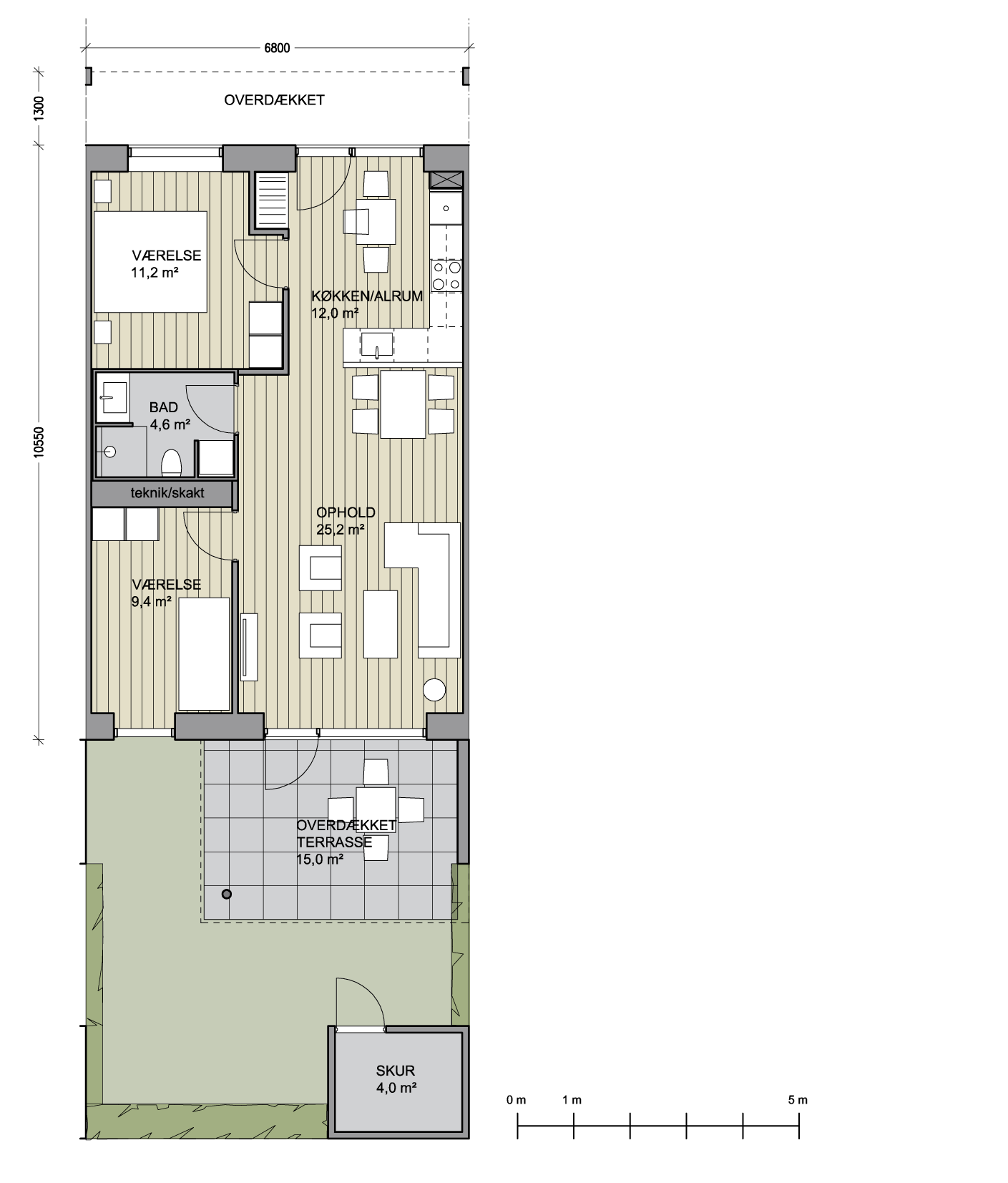 TYPE A - STUEPLAN 3-RUMS BOLIG BOLIG: 71,7 m² TERRASSE: 15 m² SKUR: 5 m² TYPE A - STUEPLAN (GAVL) 3-RUMS BOLIG